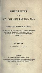 Cover of: Third letter to the Rev. William Palmer, M.A., of Worcester College, Oxford | Verax Catholic layman