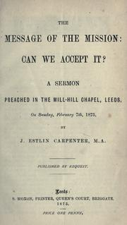 Cover of: The message of the mission; can we accept it?
