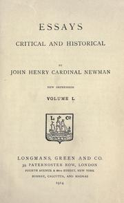 Cover of: Essays, critical and historical