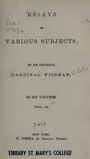 Essays on various subjects (A New Selection) by Wiseman, Nicholas Patrick, 1802-1865