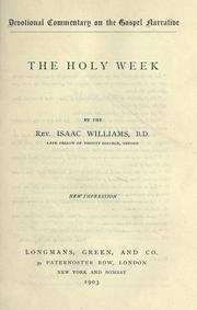 Cover of: The Holy Week | Isaac Williams