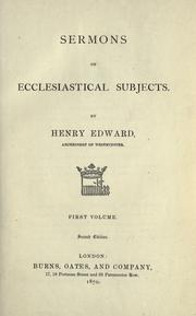 Cover of: Sermons on ecclesiastical subjects