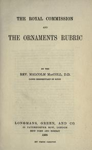 Cover of: The Royal commission and the Ornaments rubric