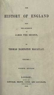 Cover of: The history of England from the accession of James the Second