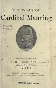 Cover of: Memorials of Cardinal Manning