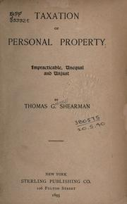 Cover of: Taxation of personal property