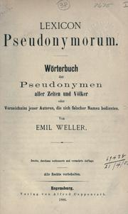 Cover of: Lexicon pseudonymorum | Emil Weller