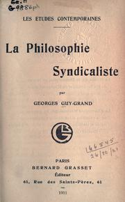 Cover of: La Philosophie syndicaliste
