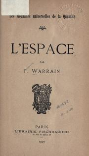 Cover of: L' espace