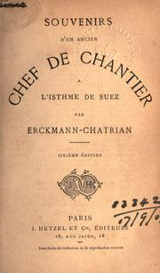 Cover of: Souvenirs d'un ancien chef de chantier à l'isthme de Suez