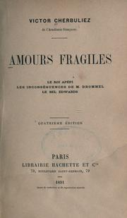 Cover of: Amours fragiles