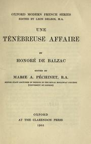Une ténébreuse affaire by Honoré de Balzac