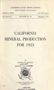 Cover of: California mineral production for 1923