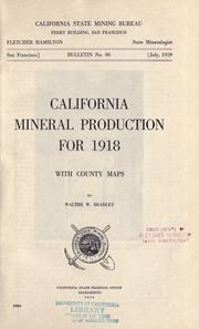 Cover of: California mineral production for 1918