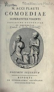 Cover of: Comoediae superstites viginti