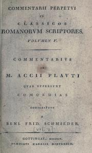 Cover of: Commentarius perpetuus in quae supersunt comoedias