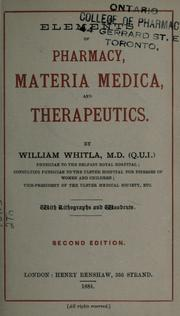 Elements of pharmacy, materia medica, and therapeutics by Whitla, William Sir