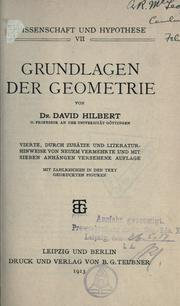 Cover of: Grundlagen der Geometrie