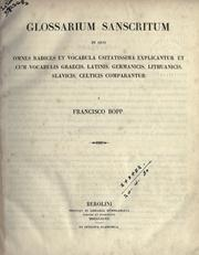 Cover of: Glossarium Sanscritum