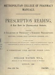 Cover of: Prescription reading | William Watson Will