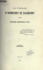 Cover of: La famille d'Irumberry de Salaberry
