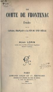 Cover of: Le Comte de Frontenac