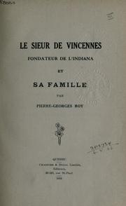 Cover of: Le sieur de Vincennes