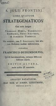 Cover of: Libri quatuor Strategematicon
