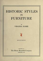 Cover of: Historic styles in furniture