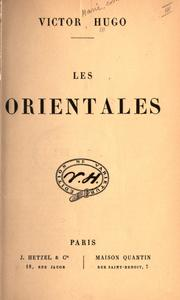 Cover of: Les orientales by Victor Hugo