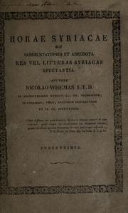 Cover of: Horae syriacae, seu, Commentationes et anecdota res vel litteras syriacas spectantia