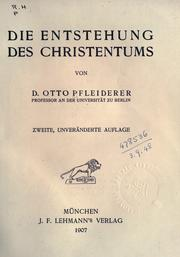 Cover of: Die Entstehung des Christentums