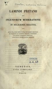 Cover of: Lamindi Pritanii de ingeniorum moderatione in religionis negotio