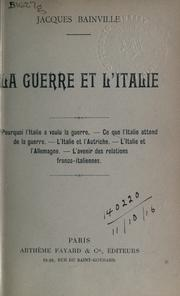 Cover of: La guerre et l'Italie