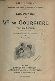Cover of: Souvenirs du Vte de Courpière