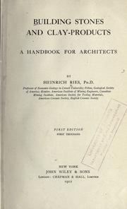 Cover of: Building stones and clay-products | Ries, Heinrich