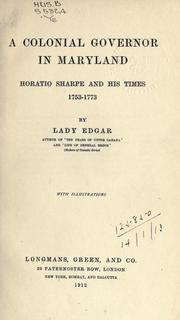 Cover of: colonial governor in Maryland | Edgar, Matilda Ridout Lady