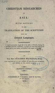 Cover of: Christian researches in Asia with notices of the translation of the Scriptures into the oriental languages