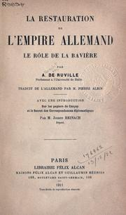 Cover of: La restauration de l'Empire Allemand
