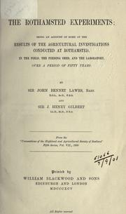 Cover of: The Rothamsted experiments