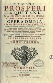 Cover of: Sancti Prosperi Aquitani ..