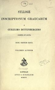 Cover of: Sylloge inscriptionum graecarum