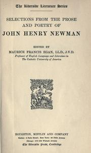 Cover of: Selections from the prose and poetry of John Henry Newman