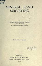 Cover of: Mineral land surveying. | James Underhill