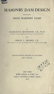 Cover of: Masonry dam design, including high masonry dams | Charles Edward Morrison