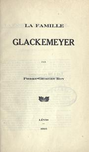 Cover of: La famille Glackemeyer