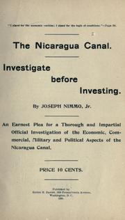 Cover of: The Nicaragua canal