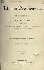 Cover of: Alumni oxonienses by University of Oxford.