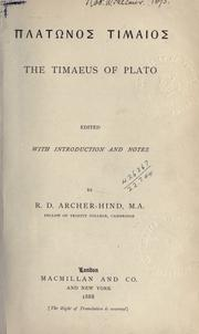 Cover of: Timaeus: the Timaeus of Plato