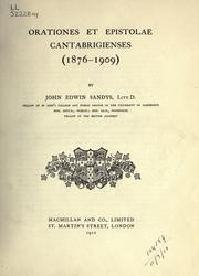 Cover of: Orationes et epistolae Cantabrigienses: (1876-1909)